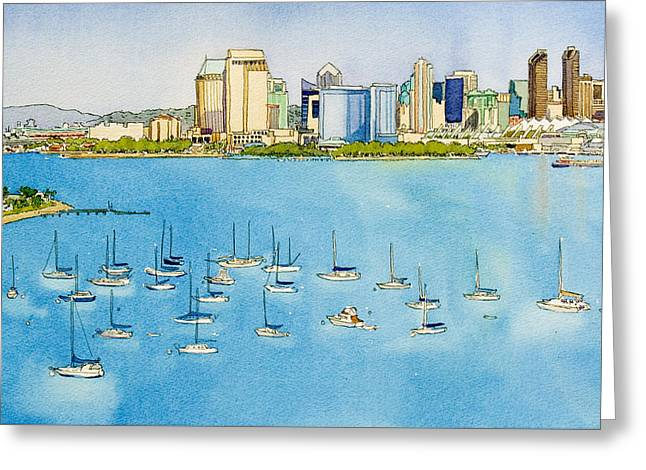 Sd Skyline Pen And Ink Greeting Card
