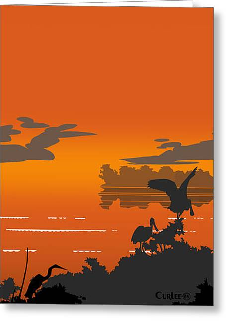 Abstract Tropical Birds Sunset Large Pop Art Nouveau Landscape 4 - Right Side Greeting Card