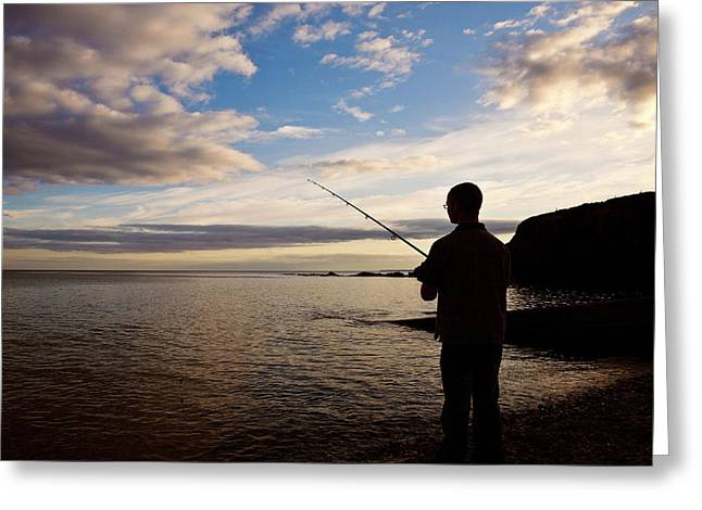 Sea Angling At Stage Cove Greeting Card by Panoramic Images