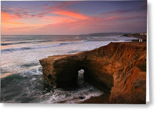 Sea Arch Winter Sunset Greeting Card