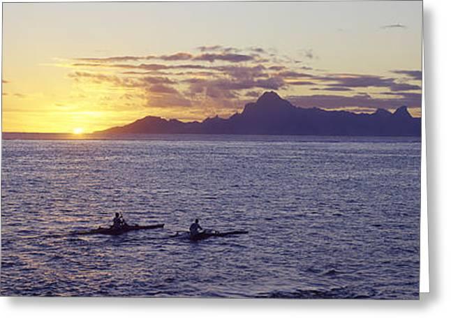Sea At Sunset, Moorea, Tahiti, Society Greeting Card