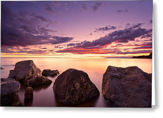 Sea At Sunset The Sky Is In Beautiful Dramatic Color Greeting Card