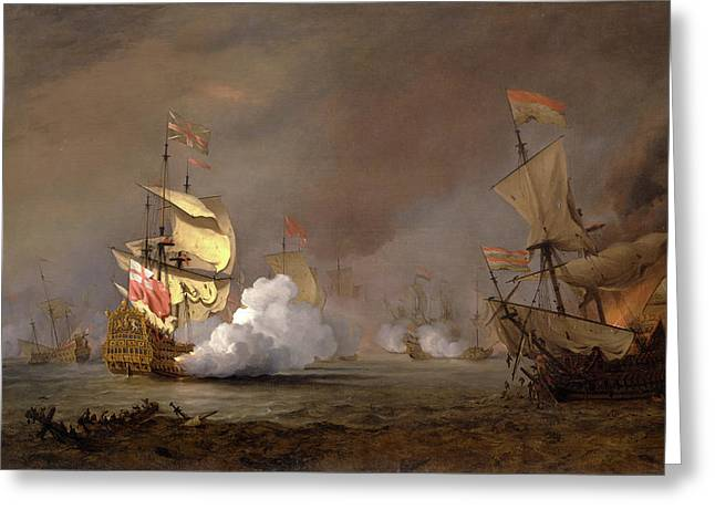 Sea Battle Of The Anglo-dutch Wars The Battle Of Lowestoft Greeting Card by Litz Collection