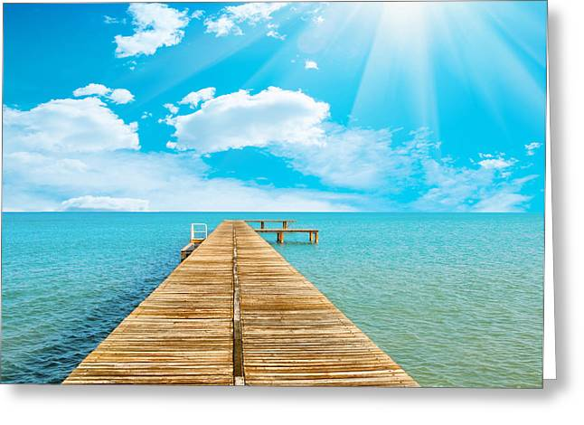 Sea Beautiful And Sky Greeting Card by Boon Mee