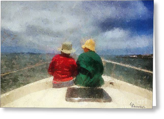 Sea Breeze 4 On The Bay Greeting Card by Linda Weinstock