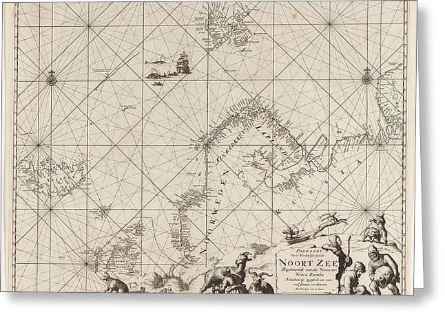 Sea Chart Of Northern Part Of Atlantic And Arctic Ocean Greeting Card by Jan Luyken And Johannes Van Keulen I