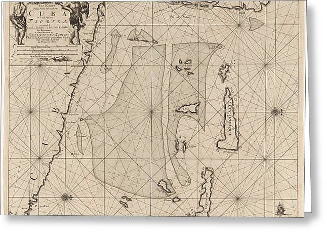 Sea Chart Of Part Of Southeastern Florida And Northeast Greeting Card