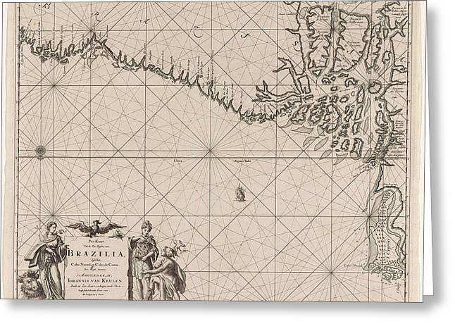 Sea Chart Of Part Of The Coast Of Brazil With The Delta Greeting Card