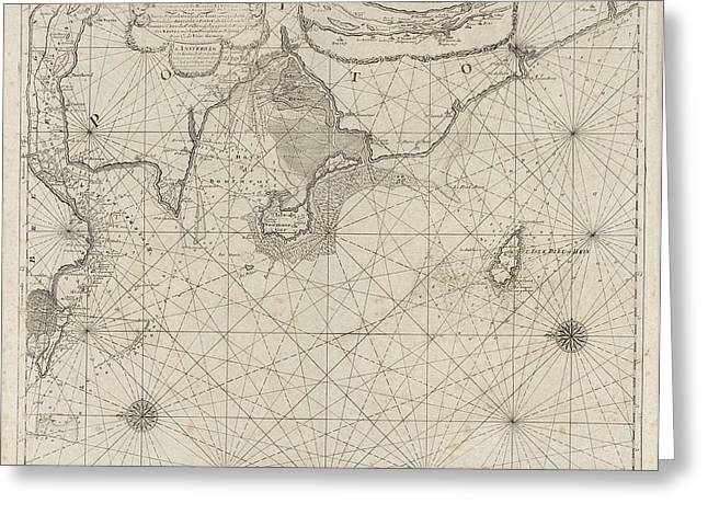 Sea Chart Of Part Of The Coast Of Brittany Greeting Card by Anonymous And Johannes Van Keulen (i)