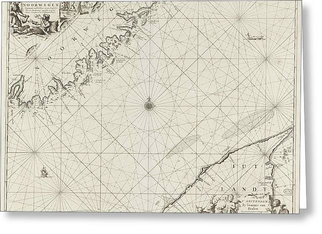 Sea Chart Of Part Of The Coast Of Norway And Jutland Greeting Card