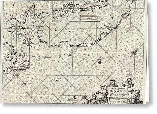 Sea Chart Of Part Of The Coast Of Norway Greeting Card