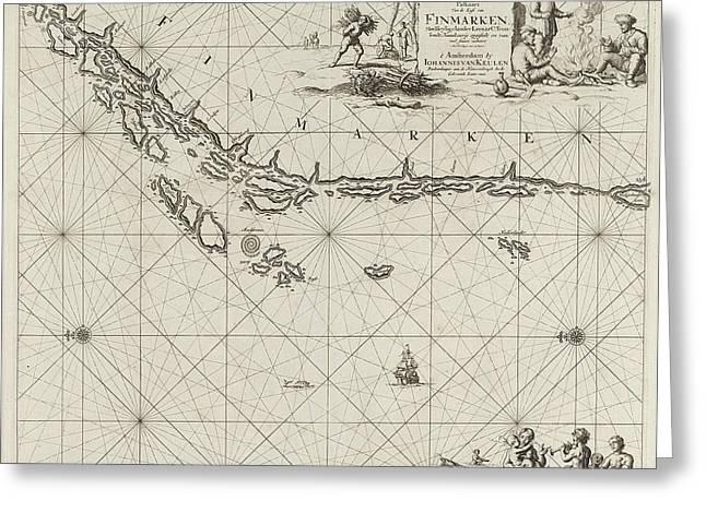Sea Chart Of Part Of The Norwegian Coast Greeting Card by Jan Luyken And Johannes Van Keulen I