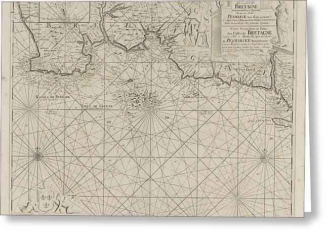 Sea Chart Of Part Of The South Coast Of Brittany Greeting Card