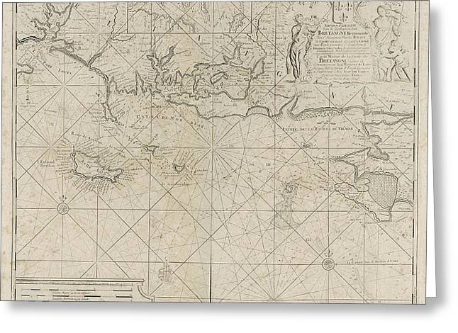 Sea Chart Of The Coast Of France Between The Island Greeting Card