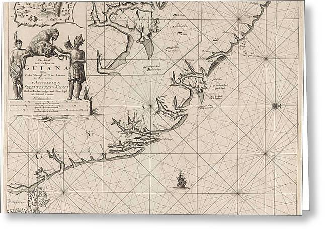Sea Chart Of The Coast Of French Guiana, Jan Luyken Greeting Card by Jan Luyken And Claes Jansz Voogt And Johannes Van Keulen (i)