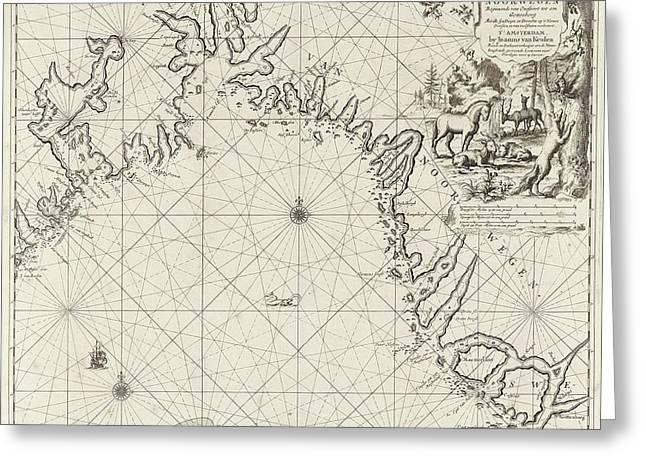 Sea Chart Of The Coast Of Norway, Jan Luyken Greeting Card