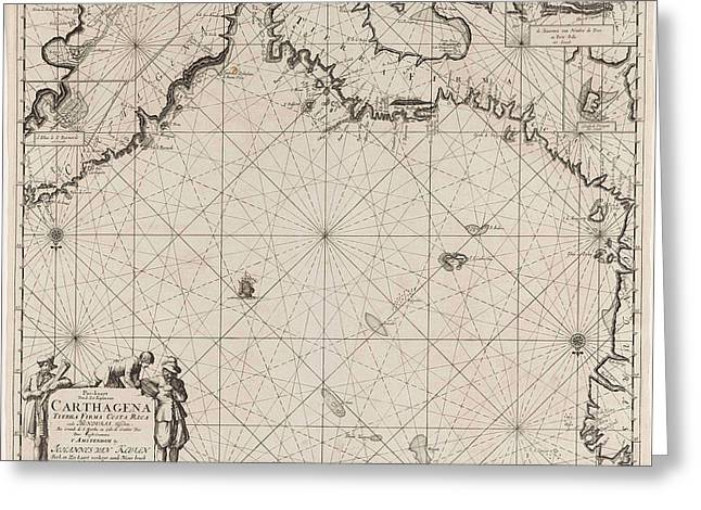 Sea Chart Of The Coasts Of Colombia, Panama, Costa Rica Greeting Card by Jan Luyken And Claes Jansz Voogt And Johannes Van Keulen (i)