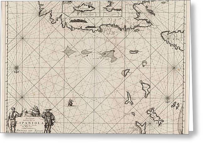 Sea Chart Of The North Coast Of Hispaniola Greeting Card by Jan Luyken And Claes Jansz Voogt And Johannes Van Keulen I