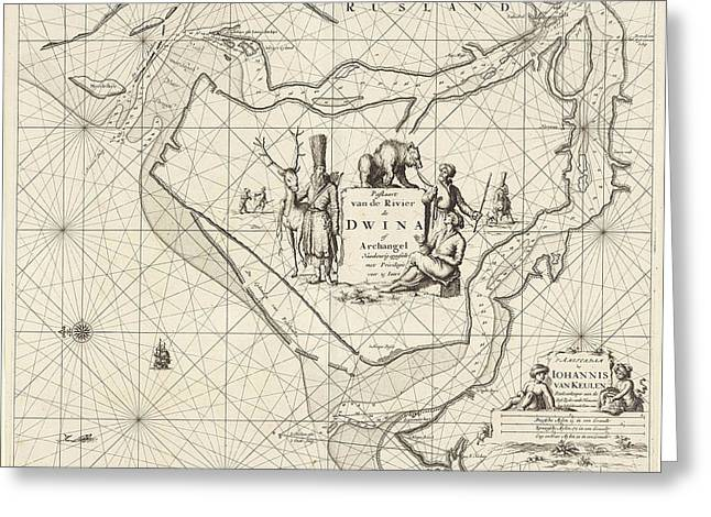 Sea Chart Of The Northern Dvina River, Russia Greeting Card by Jan Luyken And Johannes Van Keulen I