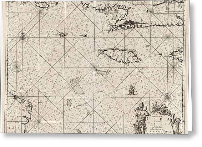 Sea Chart Of The South Coast Of Cuba And Jamaica Greeting Card