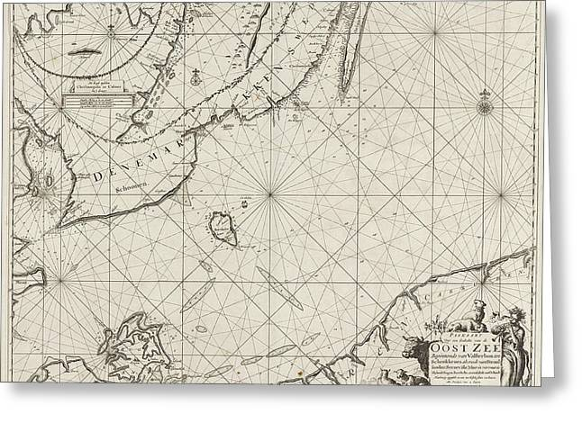 Sea Chart Of The Southern Part Of The Baltic Sea Greeting Card