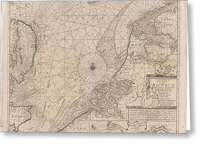 Sea Chart Of The Southern Part Of The North Sea And Part Greeting Card by Gerard Van Keulen And Johannes Van Keulen (i)