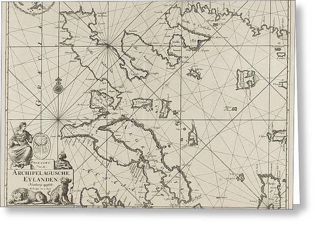 Sea Chart Of The Western Part Of The Aegean Part Greeting Card by Jan Luyken And Johannes Van Keulen (i)