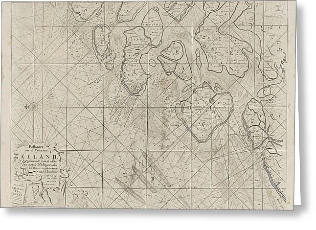 Sea Chart Of The Zeeland Islands And Part Of The North Sea Greeting Card by Jan Luyken And Anonymous And Johannes Van Keulen (i)