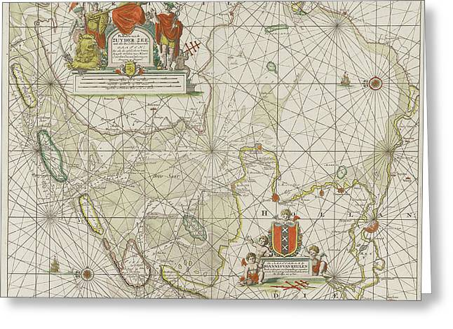 Sea Chart Of The Zuiderzee And The Wadden Sea Greeting Card