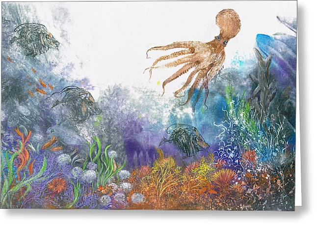 Sea Coral And Octopus Greeting Card