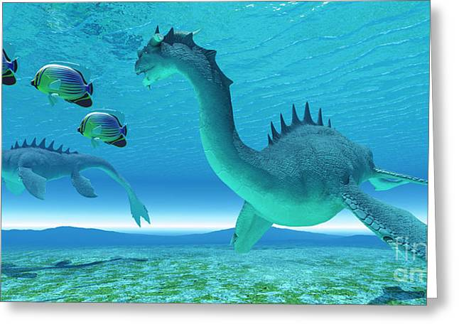 Fantasy Creature Digital Greeting Cards - Sea Dragon Fight Greeting Card by Corey Ford