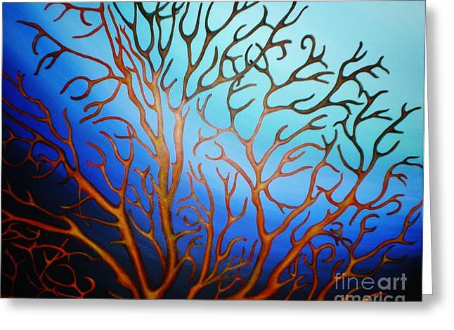 Greeting Card featuring the painting Sea Fan In Backlight by Paula L