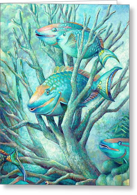 Sea Folk II - Parrot Fish Greeting Card by Nancy Tilles