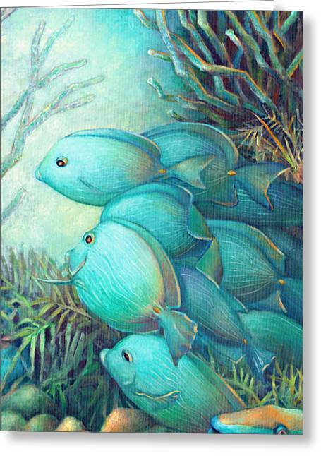 Sea Horse Greeting Cards - Sea Folk III - Blue Tang Greeting Card by Nancy Tilles
