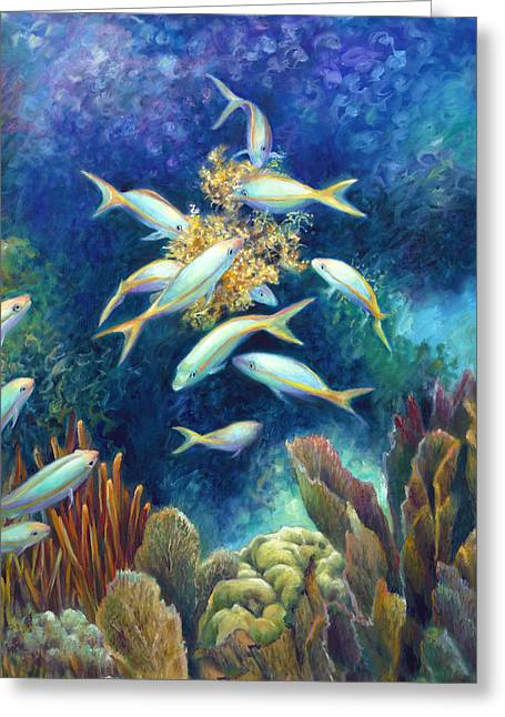 Sea Food Chain - Feeding Frenzy Greeting Card by Nancy Tilles