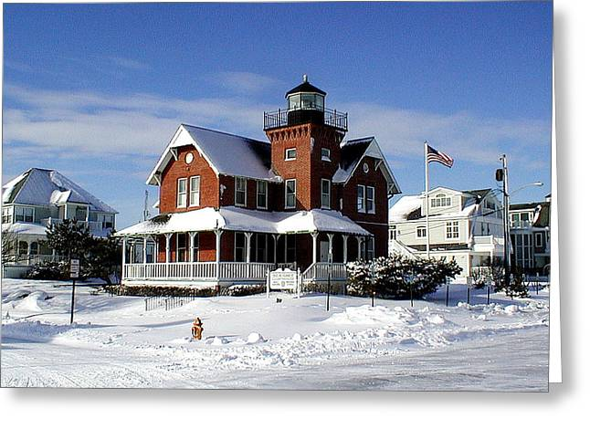 Sea Girt Lighthouse In The Snow Greeting Card by Melinda Saminski