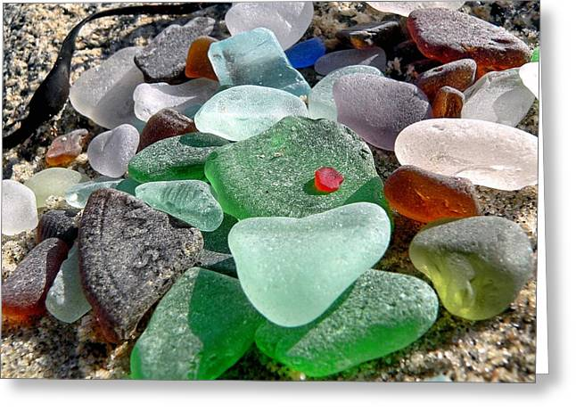 Sea Glass In Multicolors Greeting Card