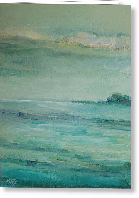 Greeting Card featuring the painting Sea Glass by Mary Wolf