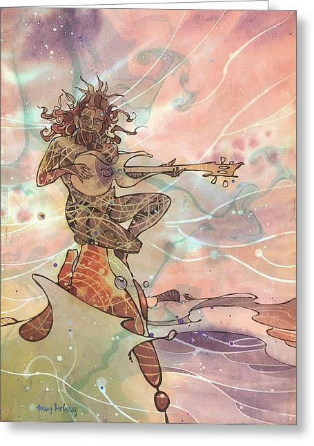 Sea God Guitarist Greeting Card