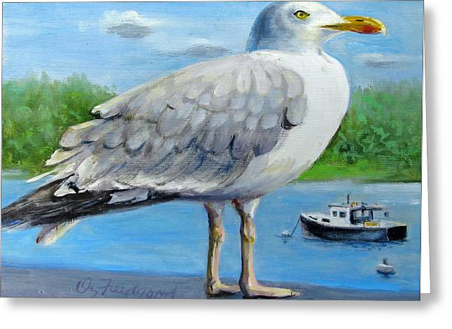 Greeting Card featuring the painting Sea Gull On Alert by Oz Freedgood