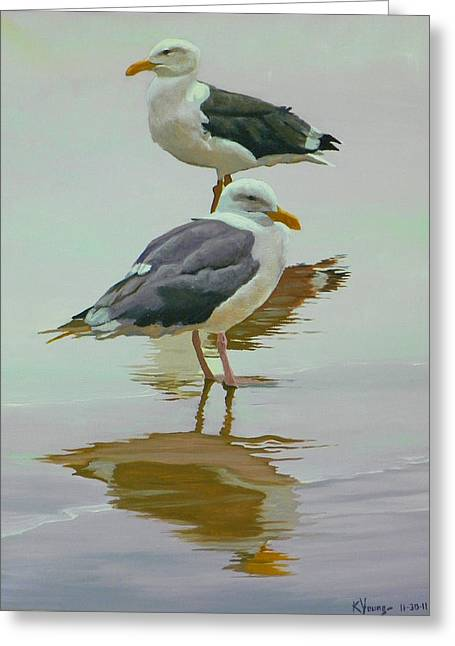 Sea Gulls Greeting Card by Kenneth Young