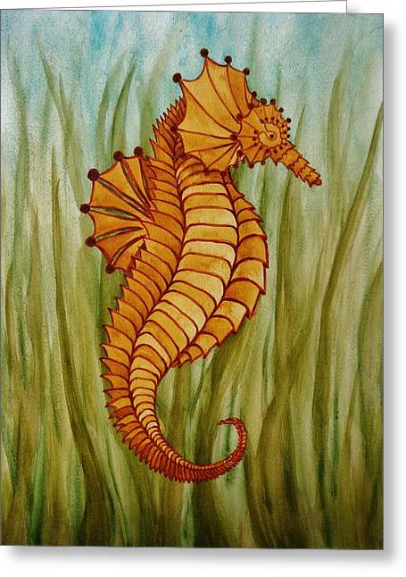 Greeting Card featuring the painting Sea Horse by Katherine Young-Beck