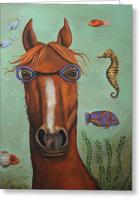 Sea Horse  Greeting Card by Leah Saulnier The Painting Maniac