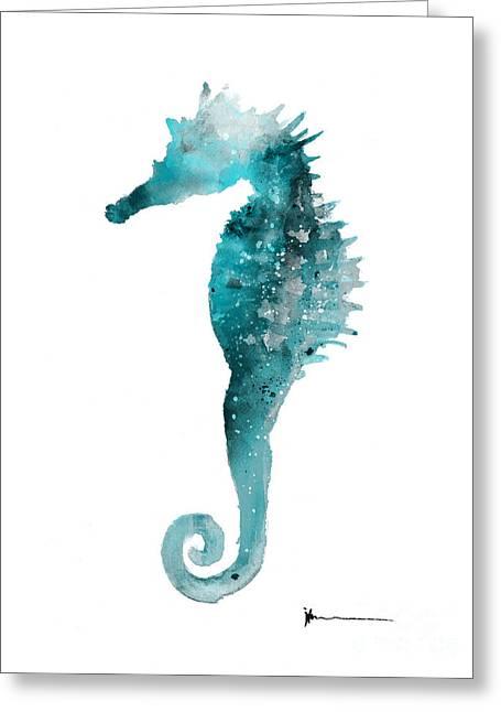 Sea Horse Watercolor Art Print Greeting Card by Joanna Szmerdt