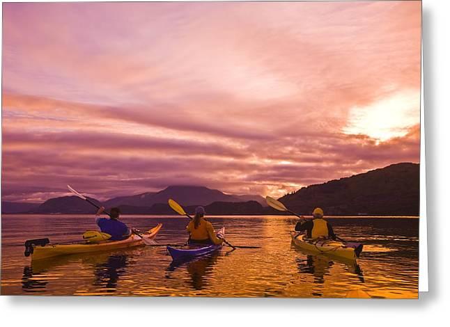 Sea Kayakers Paddle Around Near Island Greeting Card