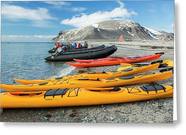 Sea Kayaks And Zodiaks Greeting Card by Ashley Cooper