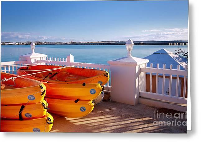 Sea Kayaks Greeting Card by Charline Xia