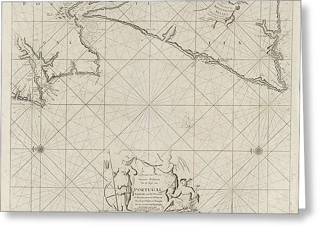 Sea Map Of Part Of The Coast Of Portugal Greeting Card