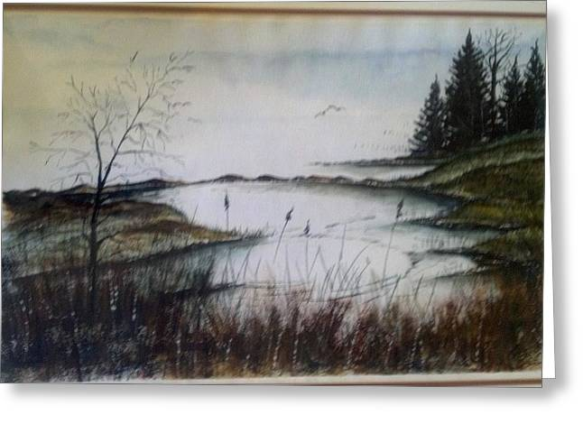 Greeting Card featuring the painting Sea Marsh Sold by Richard Benson