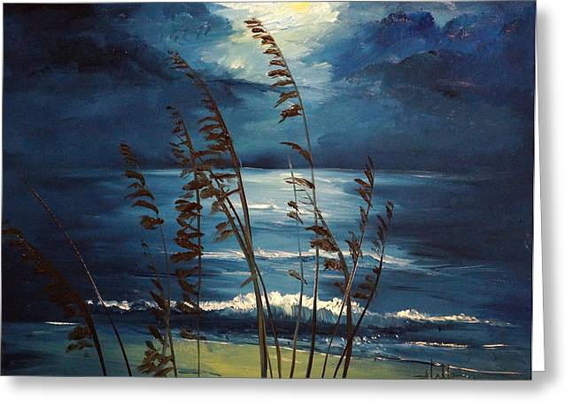 Sea Oats And Moonlight Greeting Card